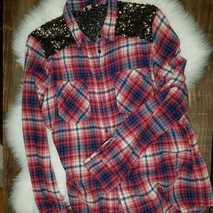 Express red sequin flannel shirt